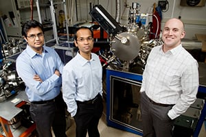 Professor Lane Martin, right. led the work with graduate student Karthik Jambunathan, center, and postdoctoral researcher Vengadesh Mangalam.