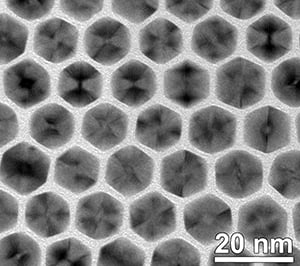 Micrograph showing the uniformity of the nanocrystals at low magnification