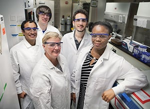 The Imoukhuede Systems Biology Laboratory (l to r) Ali Ansari, Jared Weddell, Wendy Woods, Spencer Mamer, and PI Princess Imoukhuede.