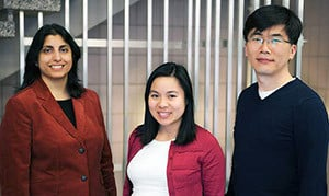 Jaya Yodh, Research Assistant Professor and CPLC Director of Education and Outreach, Thuy Ngo, graduate research assistant, and Taekjip Ha, Gutgsell Professor of Physics